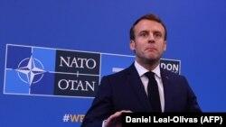 Францускиот претседател, Емануел Макрон на прес конференција по лидерскиот состанок во НАТО