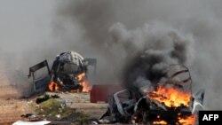 """Израилдин Ливан менен чек арада """"Хезболланын"""" ракеталары тийген аскерий унаалары. 28-январь, 2015-жыл."""