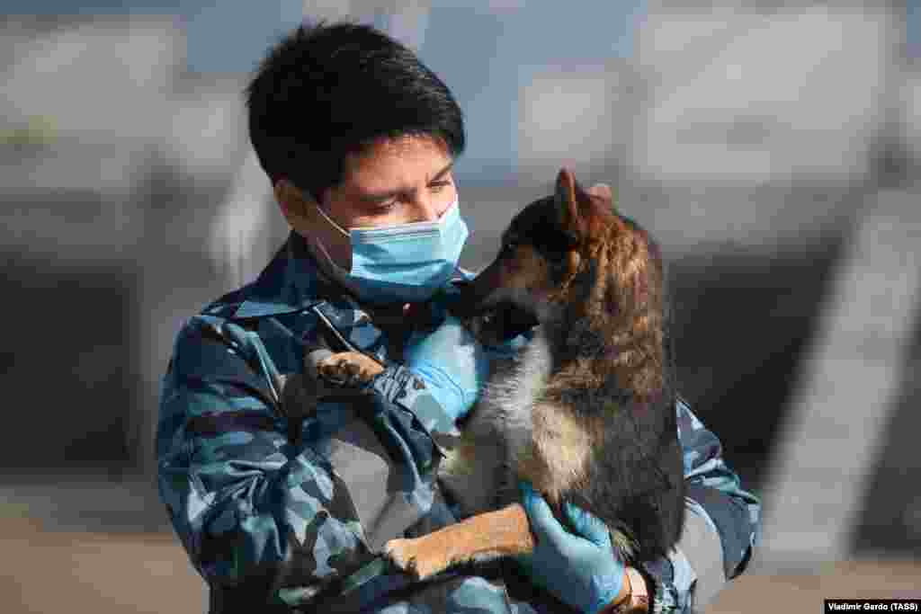 An employee holds a dog at the canine service of Aeroflot at Sheremetyevo International Airport that has started to train service dogs to detect COVID-19 in people. October 2, 2020.