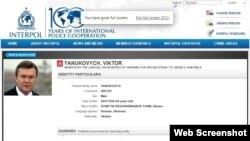 Интерпол сайтындағы Виктор Януковичке іздеу жарияланған туралы ақпарат