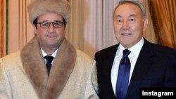 Франция президенті Франсуа Олланд пен Қазақстан президенті Нұрсұлтан Назарбаев.