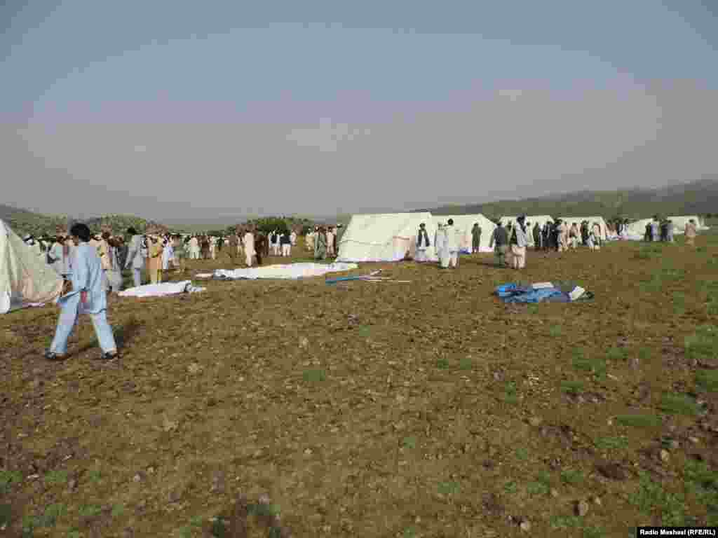 Afghan officials say the refugee camp was built in the Borikhel area of the Gorbaz district.