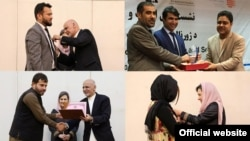 Afghan Service journalists honored -- Top left, bottom left, bottom right: Nusrat Parsa, Shah Mahmood Shinwary, and Najia Safi receiving awards from Afghan President Abdul Ghani and First Lady Rula Ghani; top right, Elyas Daee recognized by the Kabul Press Club.
