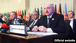 Беларусь президенті Александр Лукашенко Ислам ынтымақтастығы ұйымы саммитінде. Стамбул, 14 сәуір 2016 жыл.