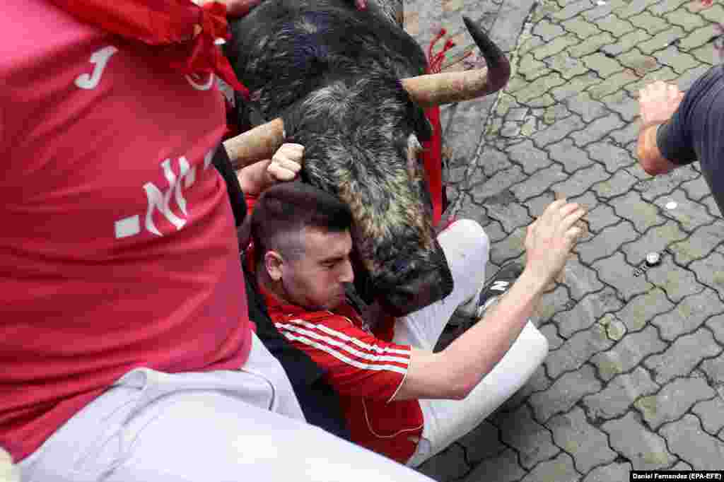 "A ""mozo"" or runner is hit by a bull during the nine-day Running of the Bulls in Pamplona, Spain. At least four people have been gored so far this year. (epa-EFE/Daniel Fernandez)"
