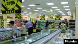 Armenia -- Shoppers in a food supermarket in Yerevan.