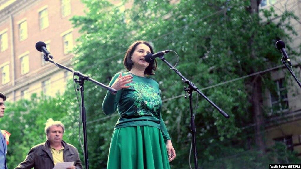 Любовь Якубовская на митинге против реновации, Москва, 28 мая 2017 г.