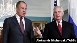 Russian Foreign Minister Sergei Lavrov (left) and U.S. Secretary of State Rex Tillerson during a previous meeting.