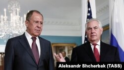 Russian Foreign Minister Sergey Lavrov (left) and U.S. Secretary of State Rex Tillerson at their meeting in Washington in May.
