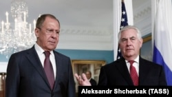 Russian Foreign Minister Sergei Lavrov (left) and U.S. Secretary of State Rex Tillerson at the State Department in Washington on May 10
