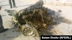 بقايا سيارة مفخخة إنفجرت في ميسان