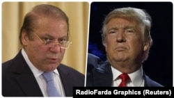 The office of Prime Minister Nawaz Sharif (left) said the Pakistani leader called Trump to congratulate him on his election victory.