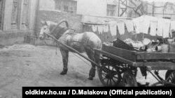 Ломовик со своей лошадью приехал во двор забирать старый хлам.