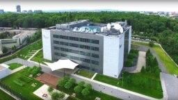 Aerial photo of RFE/RL's headquarters building in Prague, Czech Republic (June 19, 2017).