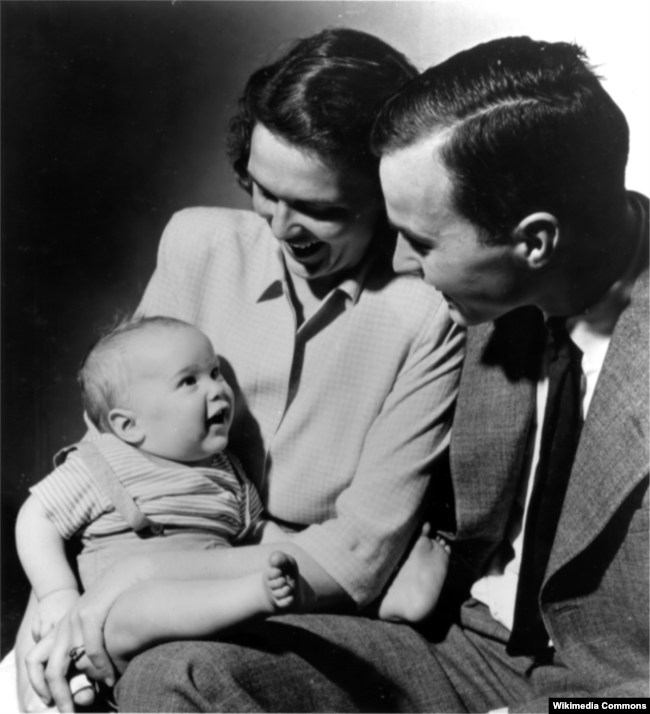 George and Barbara Bush with their first born child George W. Bush, who was born while his father was at Yale and who also later became president.