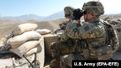 U.S. soldiers scan terrain and provide security during an operation in Kapisa Province in Afghanistan. (file photo)