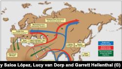 Карта на миграцията на ранния човек от Африка към целия свят