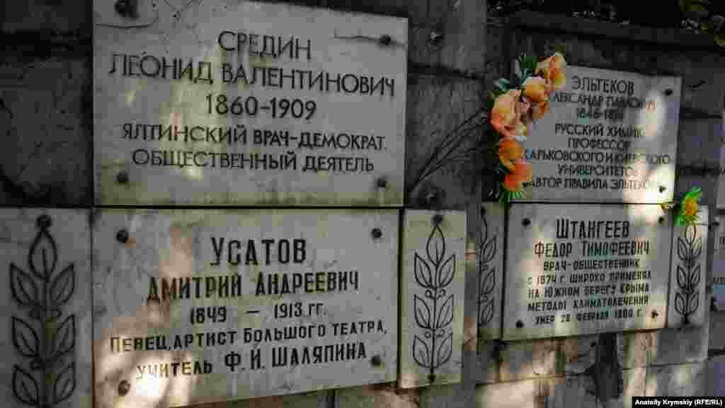На опорній стінці закріплені плити з іменами похованих або перепохованих на Полікуровському меморіалі. Їхні окремі могили не збереглися