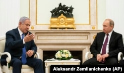 Нетаньяху и Путин на переговорах в Москве, 4 апреля 2019 года