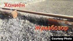 Отрезанные трубы газопровода в Каршинском районе Кашкадарьинской области.