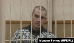 Tomsk blogger Vadim Tyumentsev in court on December 30.