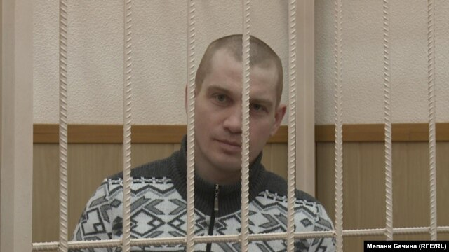 Russian blogger Vadim Tyumentsev in court in Tomsk on December 30
