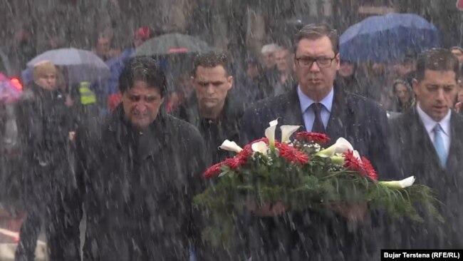 Aleksandar Vučić sa Bratislavom Gašićem i Markom Đurićem u severnoj Mitrovici 20. januara