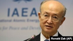 IAEA Director-General Yukiya Amano after a meeting of the IAEA board of governors at the International Center in Vienna on November 22.