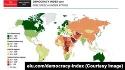Economist Intelligence Unit зерттеу тобының 2017 жылға арналған демократия индексі. (Көрнекі сурет.)