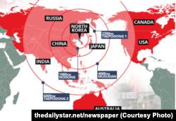 Радіус дії різних ракет Північної Кореї (Джерело: британська газета The Daily Star)