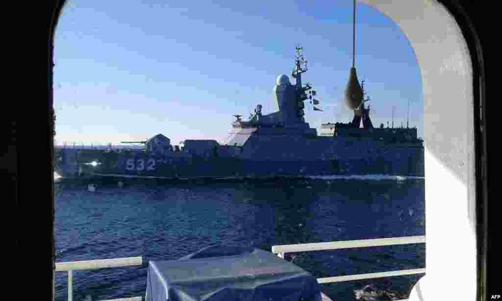 Готланд аралы маңында жүзіп жүрген Ресей әскери кемесі. Финляндияның ғылыми-зерттеу кемесі 2014 жылы қыркүйекте түсірген сурет.