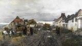 """Франц Рубо. """"Сельские торговцы. Улица в Ярмолинцах в Подолии"""", 1897 г. Когда была написана эта картина, Якову было 3 года, Ирине 4. Они жили в деревне неподалёку."""