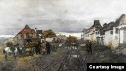 """Франц Рубо. """"Сельские торговцы. Улица в Ярмолинцах в Подолии"""", 1892 г. Родители Якова и Ирины жили в это время в деревне неподалёку."""
