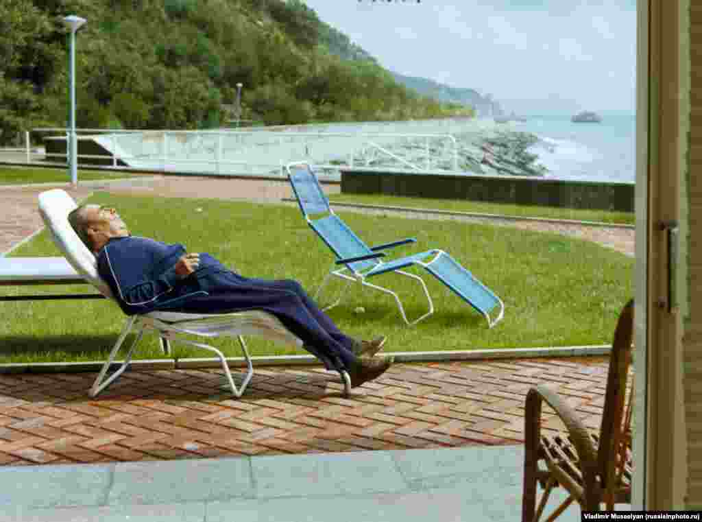 Leonid Brezhnev on holiday in Crimea. At the time this 1982 picture was taken, the Communist leader was a barely functioning figurehead of the U.S.S.R. He died later that year.