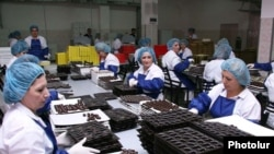 Armenia -- Workers at a candy factory in Yerevan.