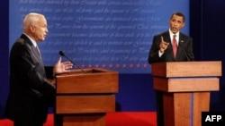 نخستین مناظره انتخاباتی جان مک کين و باراک اوباما دو نامزد انتخابات رياست جمهوری آمريکا جمعه در دانشگاه می سی سی پی برگزار شد. (عکس از:AFP)