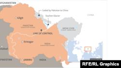 Мапа із зображенням розділеного регіону Кашмір