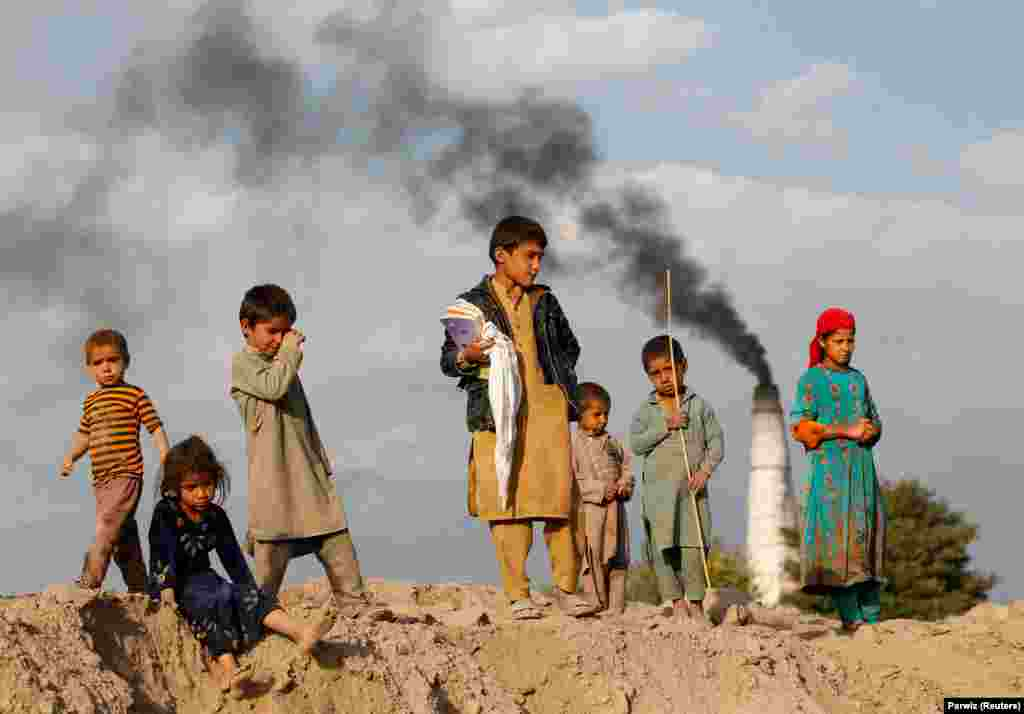 Afghan children stand at a brick-making factory on the outskirts of Jalalabad. (Reuters/Parwiz)