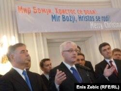 Milorad Pupovac, Ivo Josipović i Zoran Milanović na primanju pred Božić po Julijanskom kalendaru, Zagreb, 5. siječnja 2012.