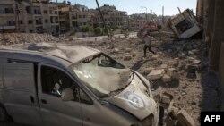 Алеппо қаласының қазіргі көрінісі. Сирия, 23 қыркүйек 2016 жыл.