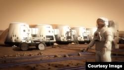 Марсқа баратын алғашқы адамдардың тұрағы. (Көрнекі сурет)