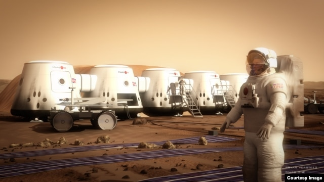 An illustration of what the proposed MarsOne colony would look like.