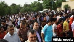 جانب من المظاهرة سلمية في مدينة السليمانية ضد اغتيال الصحفي الشاب سردشت عثمان
