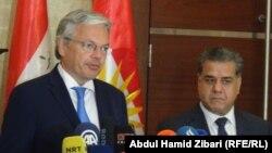 نائب رئيس الوزراء وزير الخارجية البلجيكي ديديه رينديرز يتحدث في أربيل