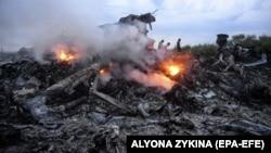 """Горящие обломки сбитого малайзийского """"Боинга"""" на поле вблизи Донецка. 17 июля 2014 года"""