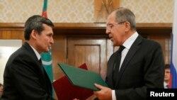 Orsýetiň daşary işler ministri Sergeý Lawrow we Türkmenistanyň daşary işler ministri Reşit Meredow, arhiw suraty