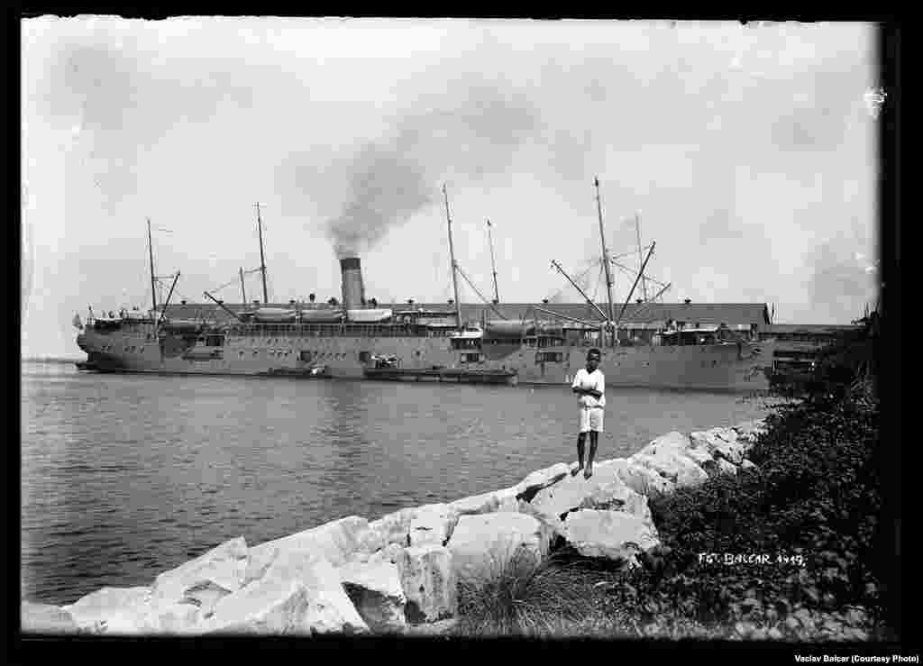 "The American ship ""Sheridan"" in port at Manila"