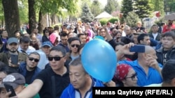 Protesters in Almaty rally to demand a fair election and the freeing of political prisoners on May 1.