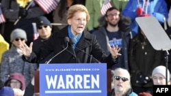 US Senator Elizabeth Warren speaks during her presidential candidacy announcement event at the Everett Mills in Lawrence, MA on February 9, 2019.