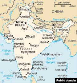Карта китайско-индийской границы.